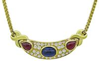 Estate 2.00ct Diamond 5.00ct Sapphire 3.00ct Ruby Necklace