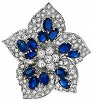 Estate 6.50ct Sapphire 3.00ct Diamond Star Pin