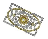 Estate 4.00ct Diamond Two Tone Gold Pin