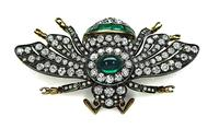 Estate 8.50ct Diamond 5.00ct Emerald Bee Pin