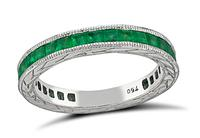 Estate 1.00ct Emerald White Gold Wedding Band