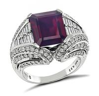 Estate 4.31ct Garnet 1.52ct Diamond Cocktail Ring