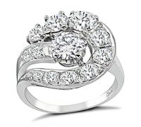 Estate GIA 0.64ct Center Diamond 1.30ct Side Diamond Cocktail Ring