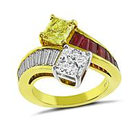 GIA Certified 0.94ct Diamond 1.01ct Fancy Yellow Diamond Ring