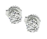 Estate GIA Certified 0.56ct and 0.54ct Diamond Stud Earrings