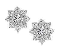 GIA Certified 1.59ct Center Diamond 3.00ct Side Diamond Earrings