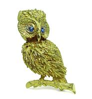 Estate Yellow Gold Owl Pin / Pendant