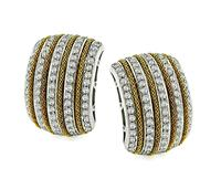 Estate Harpo's 3.25ct Diamond Gold Earrings