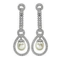 Estate 2.50ct Diamond Pearl Dangling Earrings