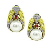 Estate Pearl 1.00ct Diamond Gold Earrings