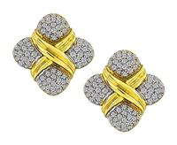 Estate 3.50ct Diamond Gold Earrings