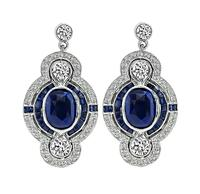 Estate 5.00ct Sapphire 1.75ct Diamond Dangling Earrings