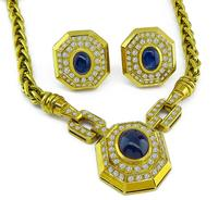 Estate 10.00ct Sapphire 3.00ct Diamond Gold Necklace and Earrings Set