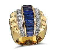 Vintage 3.00ct Sapphire 2.50ct Diamond Gold Ring