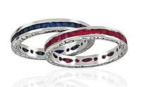 Estate 1.00ct Sapphire 1.00ct Ruby Eternity Wedding Band Set