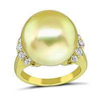 Estate South Sea Pearl 0.58ct Diamond Gold Ring