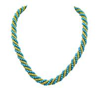 1960s Turquoise Gold Rope Necklace