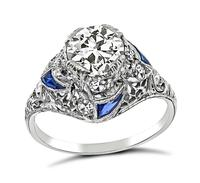 Art Deco 1.12ct Diamond Sapphire Engagement Ring