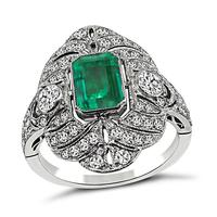 Art Deco 1.50ct Colombian Emerald 1.00ct Diamond Ring