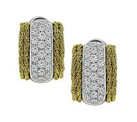 Vintage 3.70ct Diamond Two Tone Gold Earrings