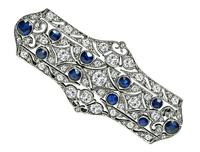 Art Deco 2.50ct Diamond 2.00ct Sapphire Pin