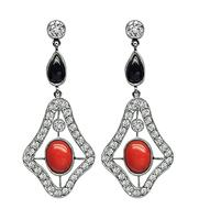 Art Deco 1.00ct Diamond Coral Onyx Dangling Earrings