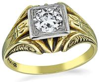 GIA Certified 0.66ct Diamond Victorian Men's Ring