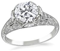 Art Deco GIA Certified 1.52ct Diamond Engagement Ring