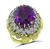 Estate 20.00ct Amethyst 1.50ct Diamond Gold Ring