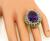Oval Cut Amethyst Round Cut Diamond 14k Yellow and White Gold Cocktail Ring