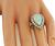 Cabochon Pear Shape Opal Round Cut Diamond 14k White and Yellow Gold Ring